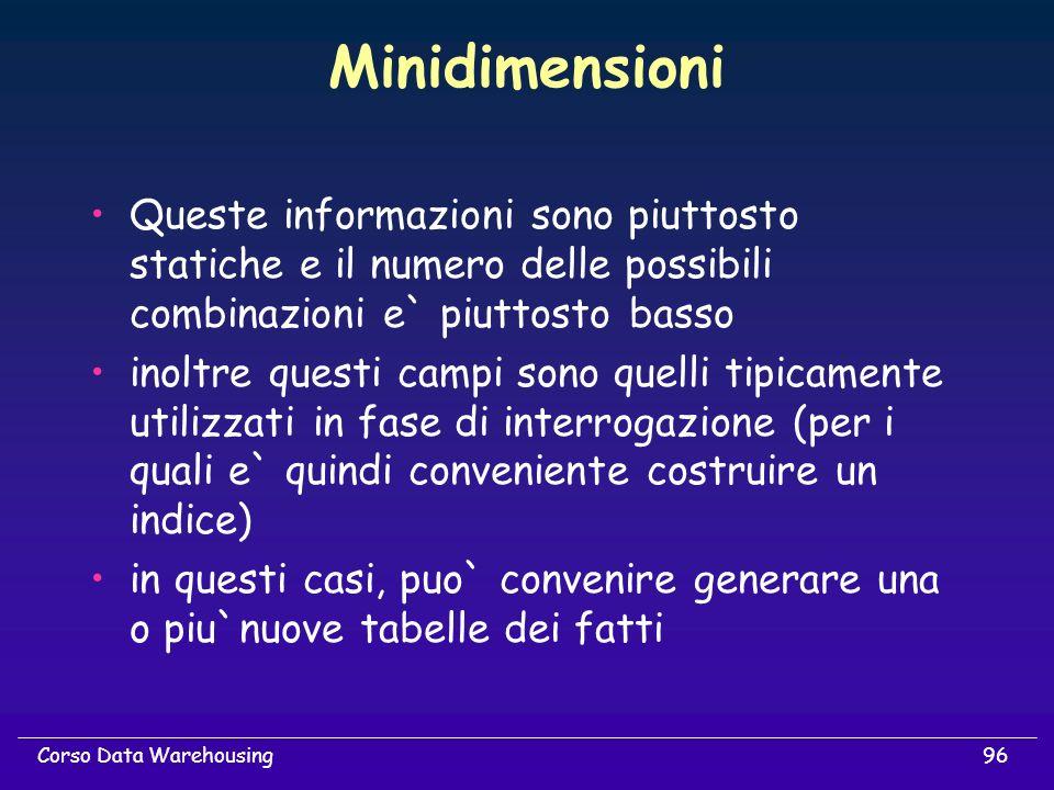 Minidimensioni Queste informazioni sono piuttosto statiche e il numero delle possibili combinazioni e` piuttosto basso.