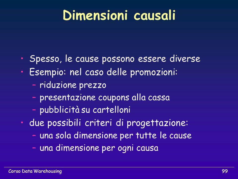 Dimensioni causali Spesso, le cause possono essere diverse