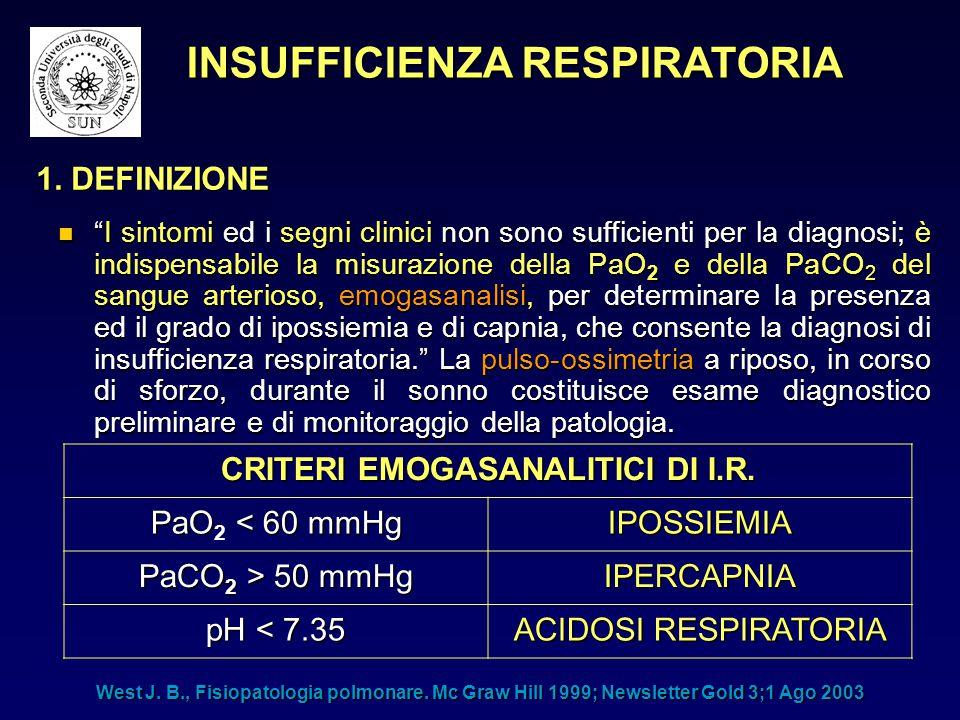 INSUFFICIENZA RESPIRATORIA CRITERI EMOGASANALITICI DI I.R.