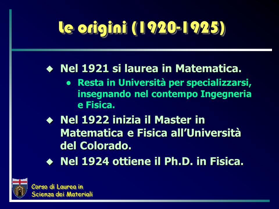 Le origini (1920-1925) Nel 1921 si laurea in Matematica.