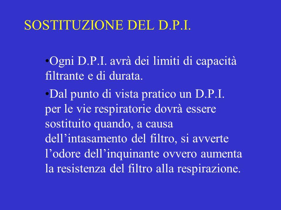 SOSTITUZIONE DEL D.P.I. Ogni D.P.I. avrà dei limiti di capacità filtrante e di durata.