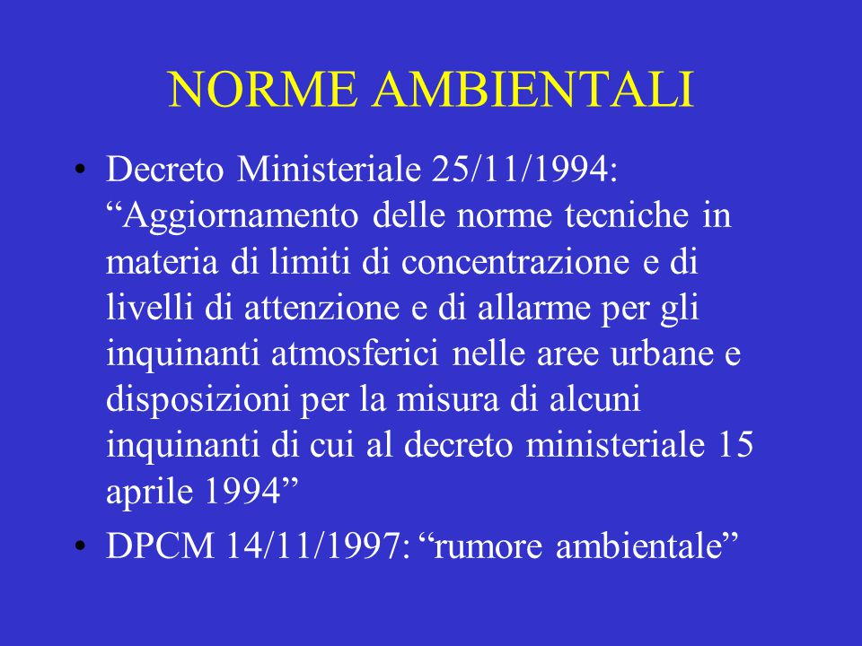 NORME AMBIENTALI