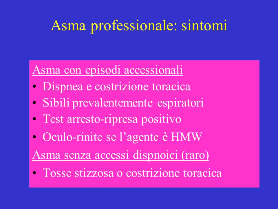 Asma professionale: sintomi
