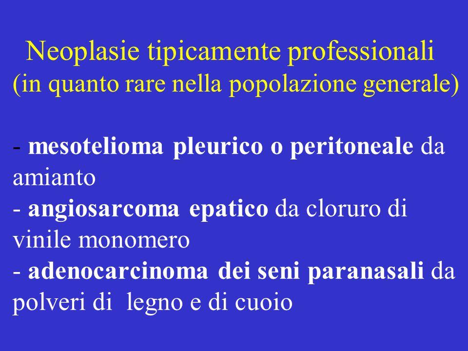 Neoplasie tipicamente professionali (in quanto rare nella popolazione generale) - mesotelioma pleurico o peritoneale da amianto - angiosarcoma epatico da cloruro di vinile monomero - adenocarcinoma dei seni paranasali da polveri di legno e di cuoio