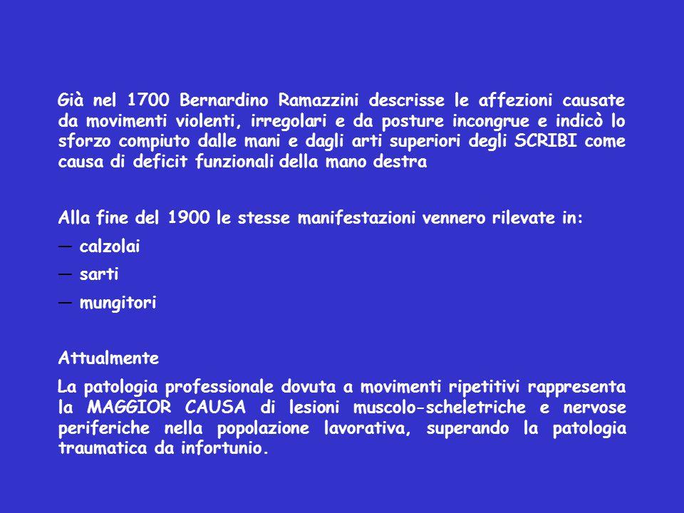 Già nel 1700 Bernardino Ramazzini descrisse le affezioni causate da movimenti violenti, irregolari e da posture incongrue e indicò lo sforzo compiuto dalle mani e dagli arti superiori degli SCRIBI come causa di deficit funzionali della mano destra