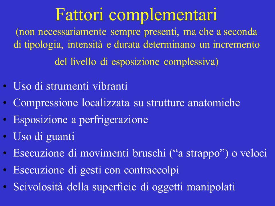 Fattori complementari (non necessariamente sempre presenti, ma che a seconda di tipologia, intensità e durata determinano un incremento del livello di esposizione complessiva)