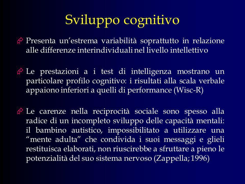 Sviluppo cognitivo Presenta un'estrema variabilità soprattutto in relazione alle differenze interindividuali nel livello intellettivo.