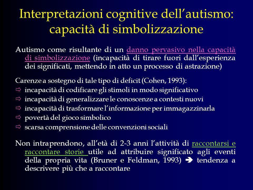 Interpretazioni cognitive dell'autismo: capacità di simbolizzazione