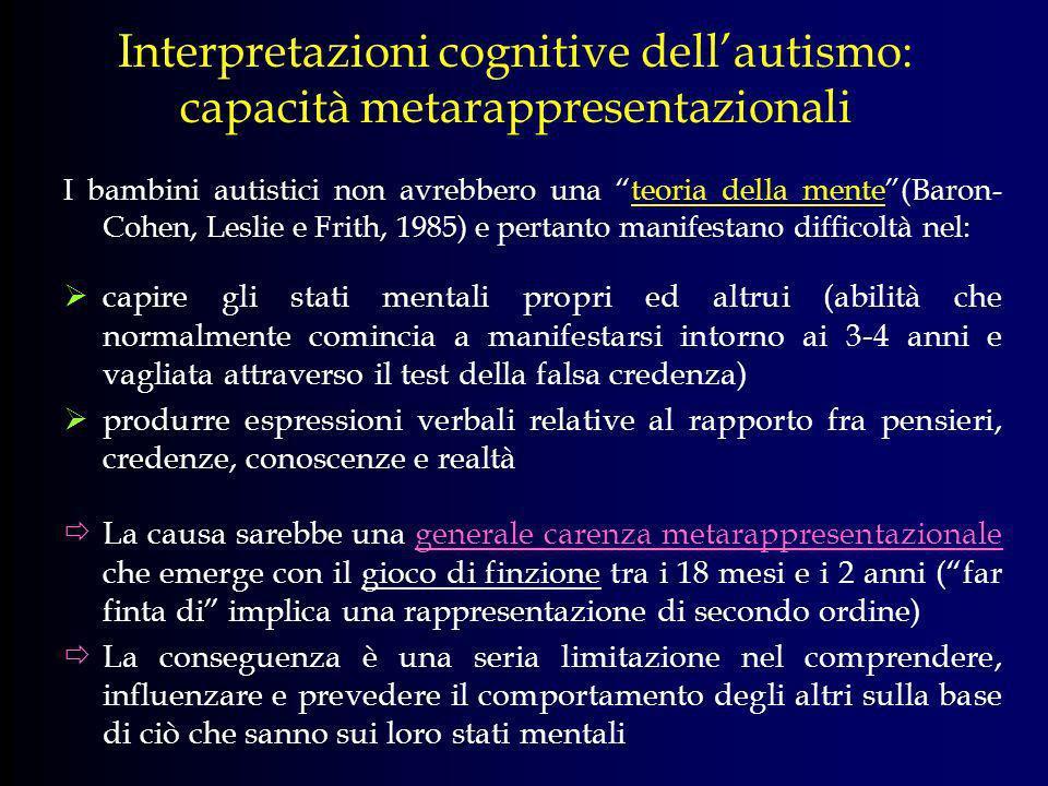 Interpretazioni cognitive dell'autismo: capacità metarappresentazionali