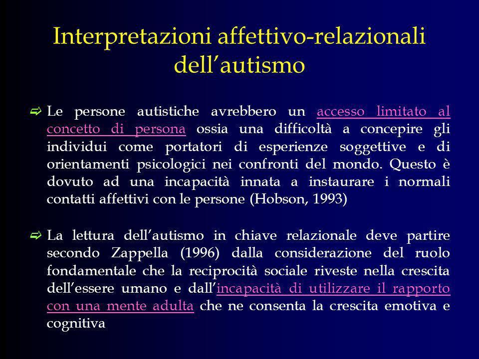 Interpretazioni affettivo-relazionali dell'autismo