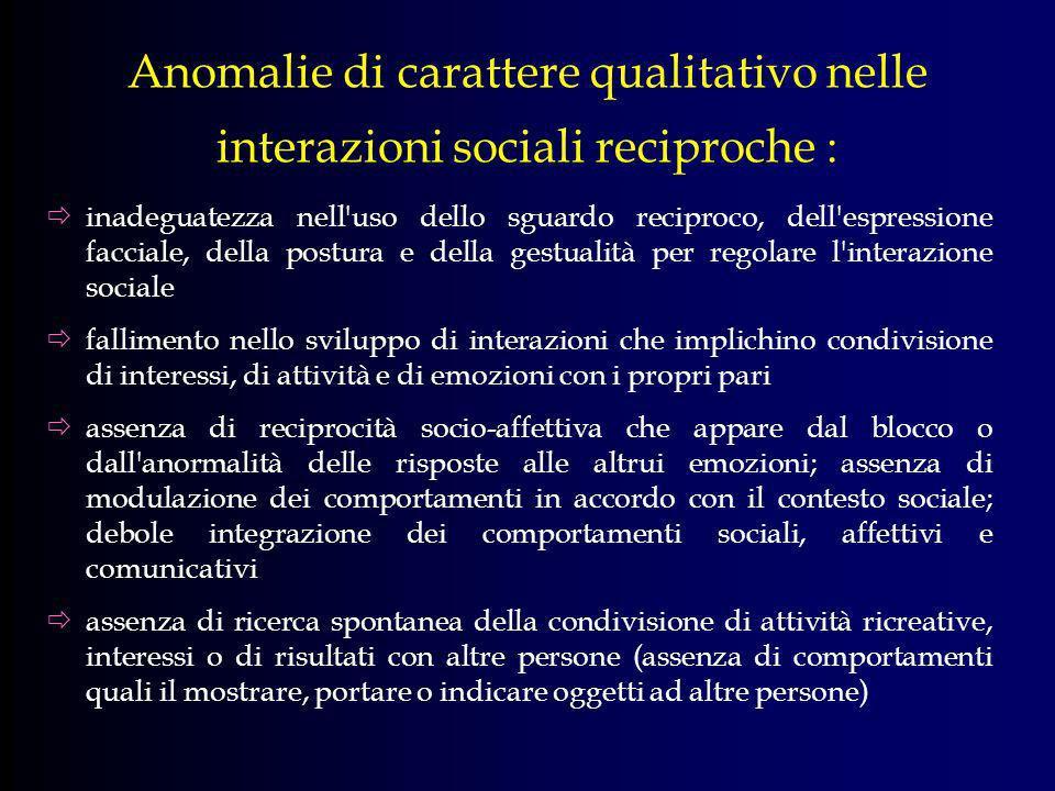 Anomalie di carattere qualitativo nelle interazioni sociali reciproche :