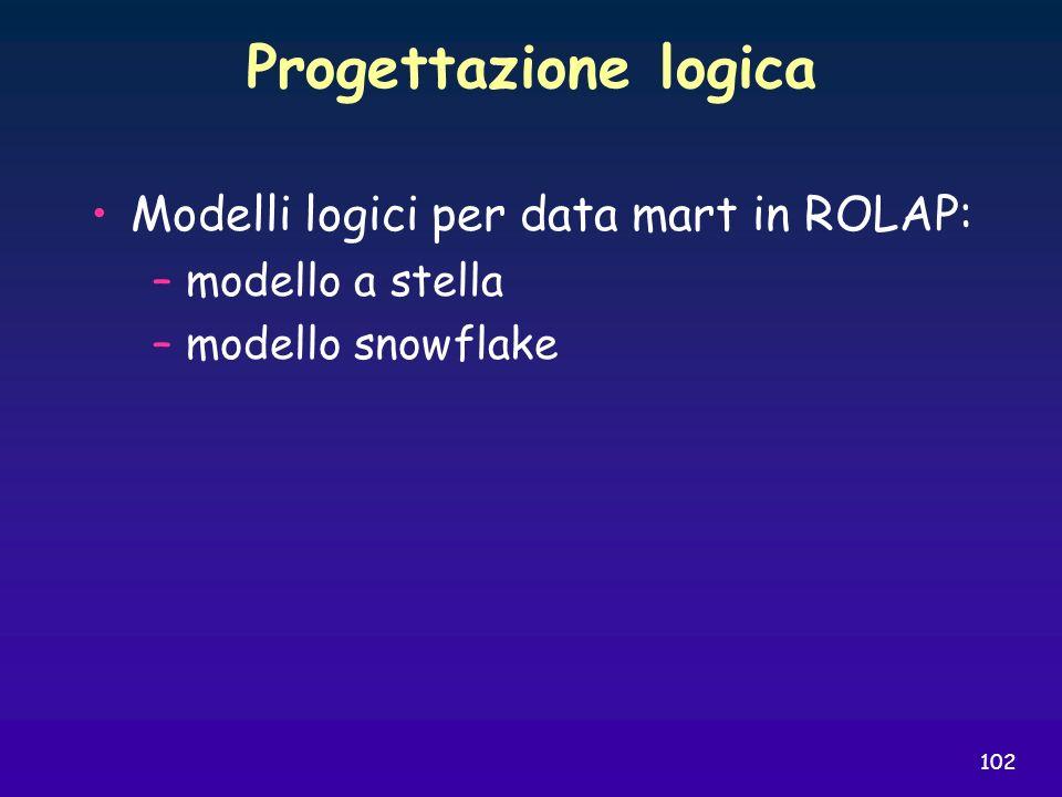 Progettazione logica Modelli logici per data mart in ROLAP: