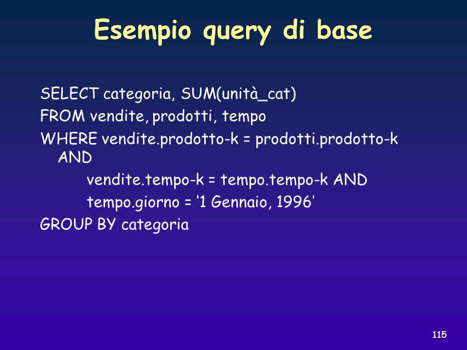 Esempio query di base SELECT categoria, SUM(unità_cat)