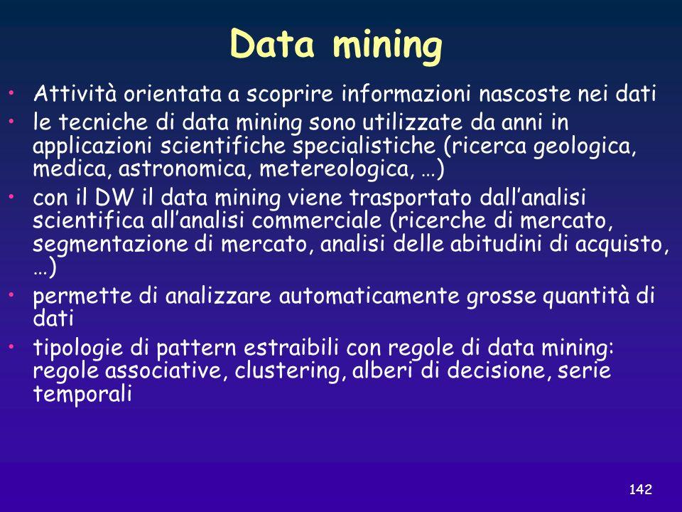 Data mining Attività orientata a scoprire informazioni nascoste nei dati.