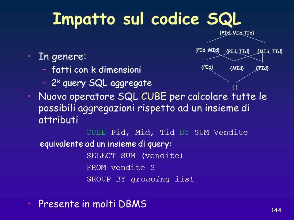 Impatto sul codice SQL In genere: