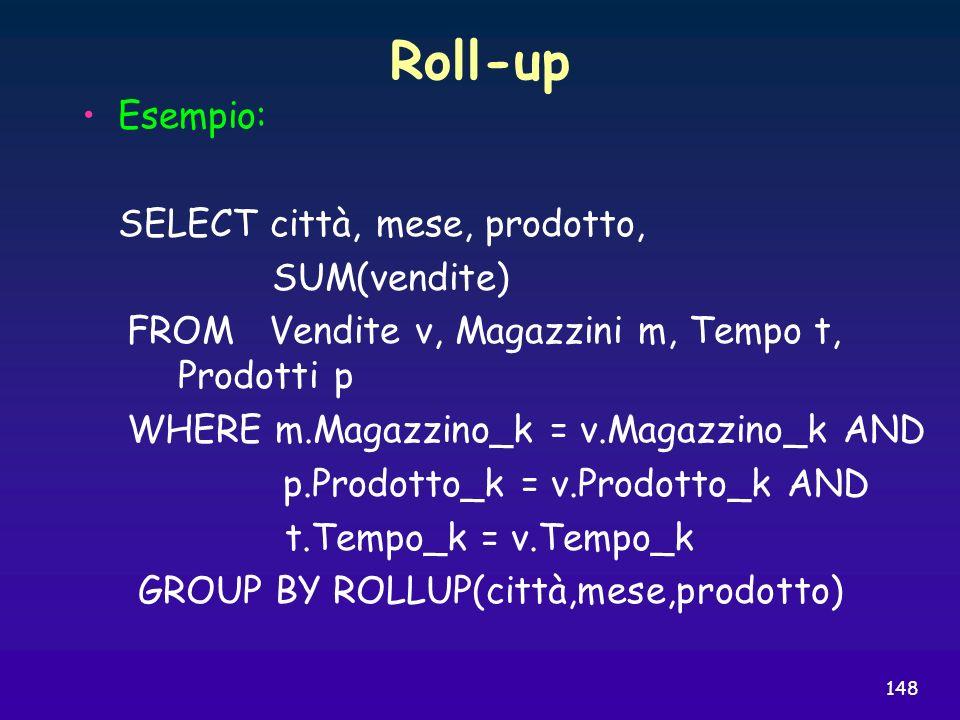 Roll-up Esempio: SELECT città, mese, prodotto, SUM(vendite)