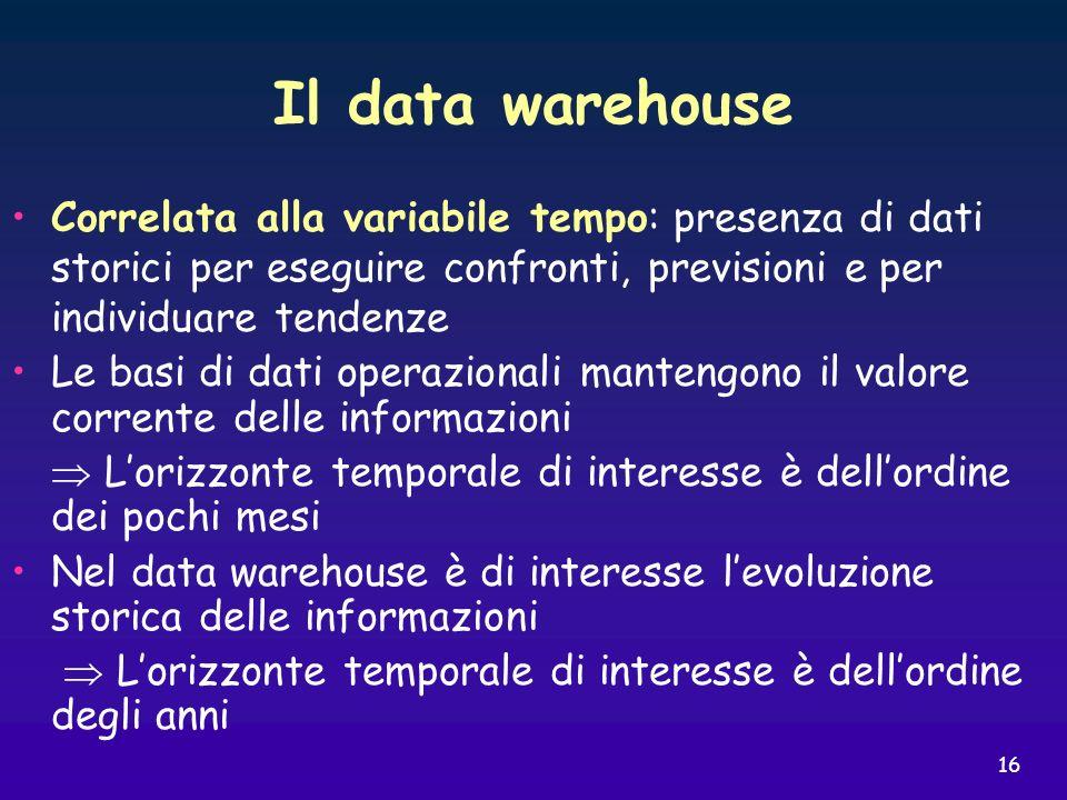 Il data warehouse Correlata alla variabile tempo: presenza di dati storici per eseguire confronti, previsioni e per individuare tendenze.