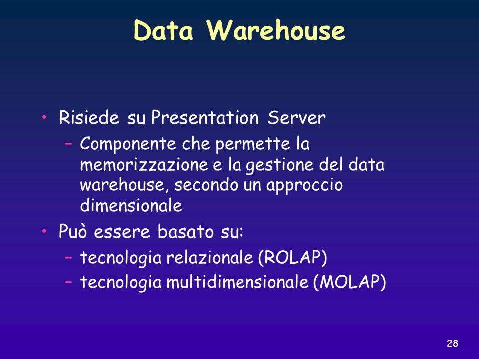 Data Warehouse Risiede su Presentation Server Può essere basato su: