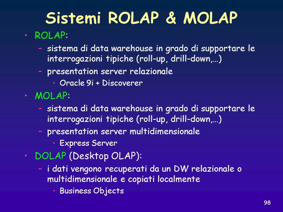 Sistemi ROLAP & MOLAP ROLAP: MOLAP: DOLAP (Desktop OLAP):