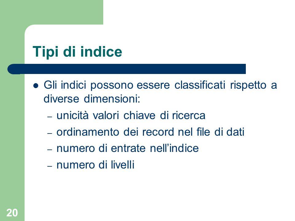 Tipi di indiceGli indici possono essere classificati rispetto a diverse dimensioni: unicità valori chiave di ricerca.