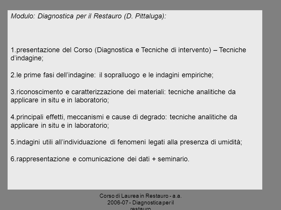 Modulo: Diagnostica per il Restauro (D. Pittaluga):