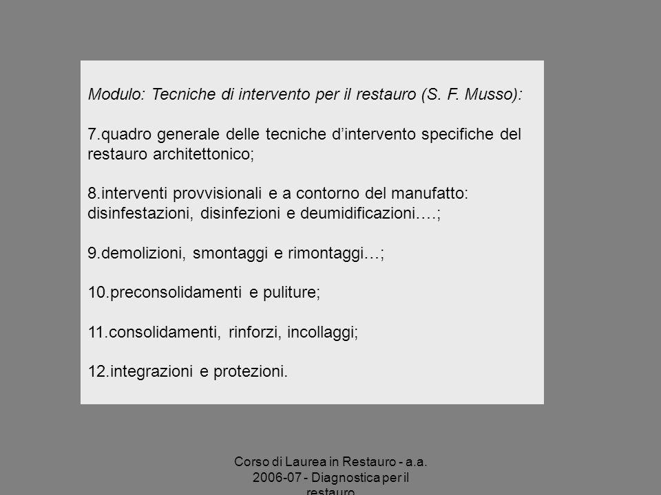 Modulo: Tecniche di intervento per il restauro (S. F. Musso):