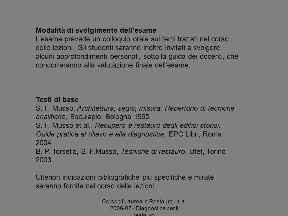 B. P. Torsello, S. F.Musso, Tecniche di restauro, Utet, Torino 2003