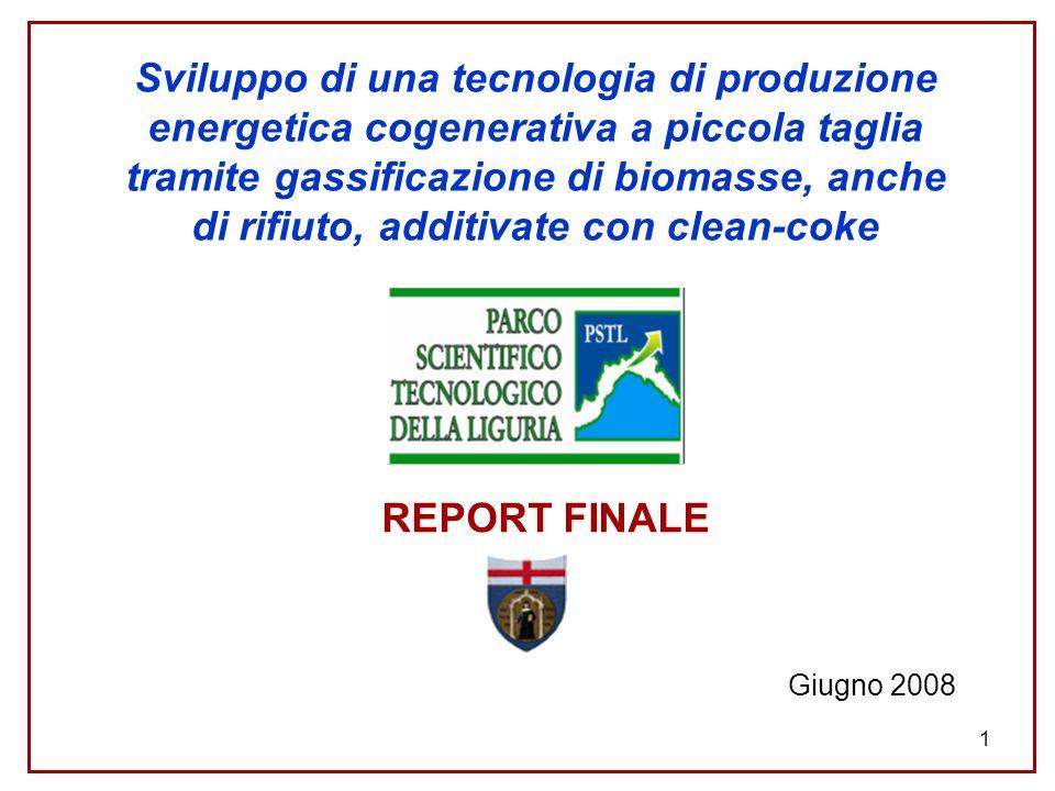 Sviluppo di una tecnologia di produzione energetica cogenerativa a piccola taglia tramite gassificazione di biomasse, anche di rifiuto, additivate con clean-coke