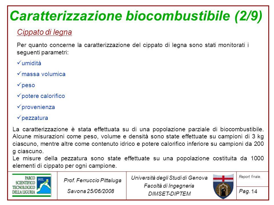 Caratterizzazione biocombustibile (2/9)