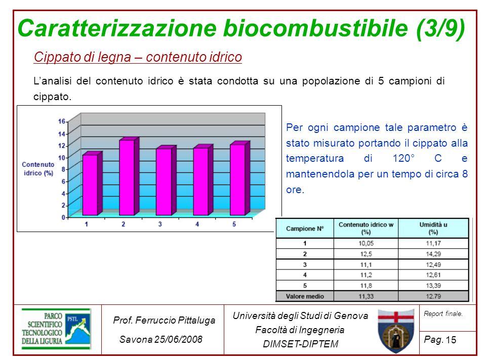 Caratterizzazione biocombustibile (3/9)