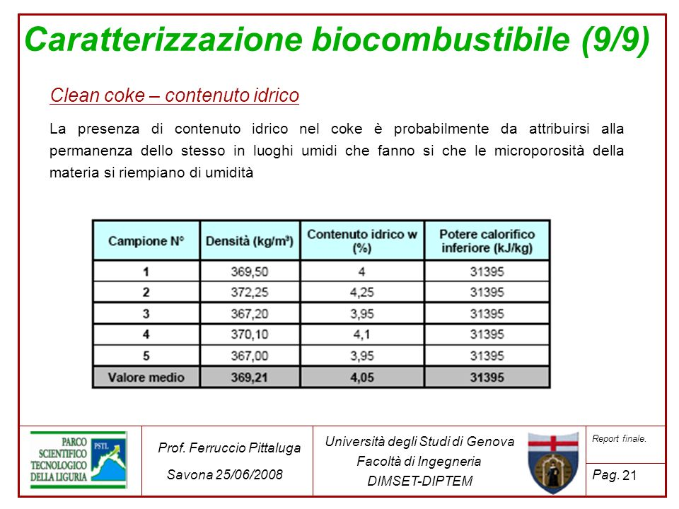 Caratterizzazione biocombustibile (9/9)