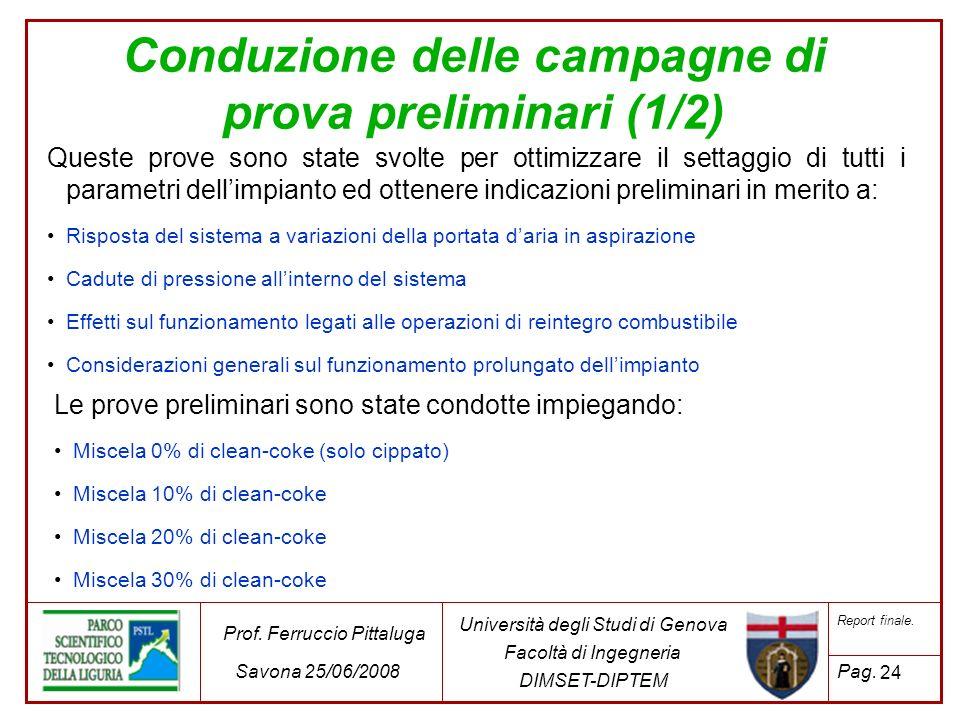 Conduzione delle campagne di prova preliminari (1/2)