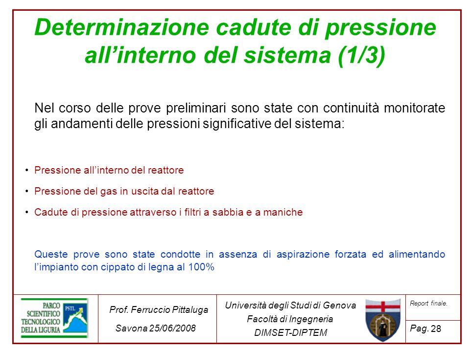 Determinazione cadute di pressione all'interno del sistema (1/3)