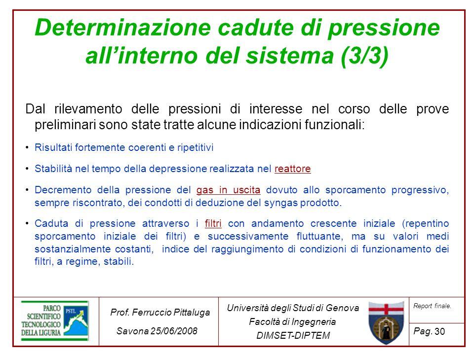 Determinazione cadute di pressione all'interno del sistema (3/3)