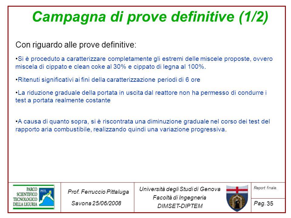 Campagna di prove definitive (1/2)