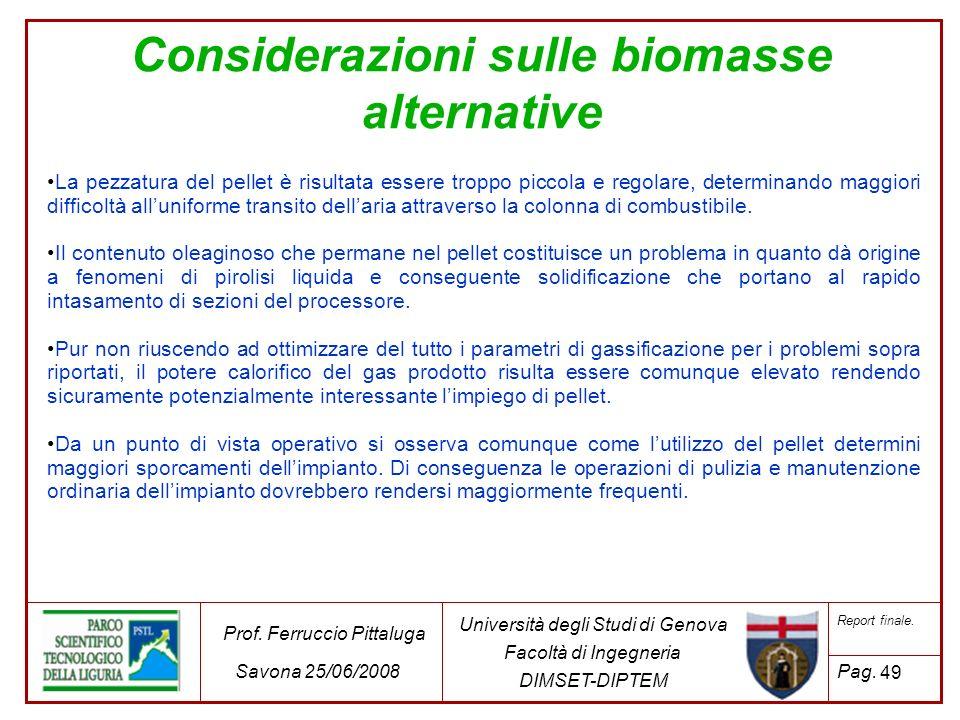 Considerazioni sulle biomasse alternative