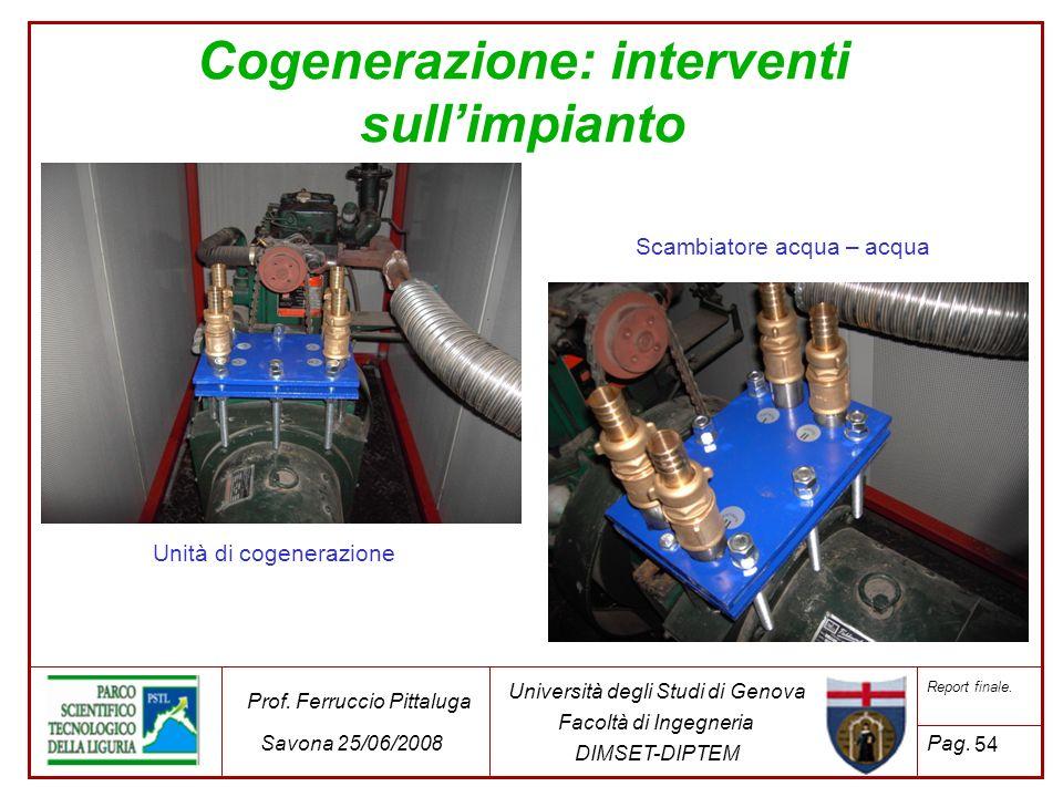 Cogenerazione: interventi sull'impianto