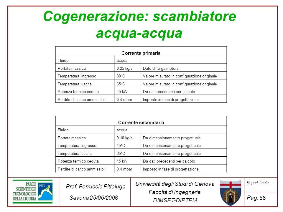 Cogenerazione: scambiatore acqua-acqua