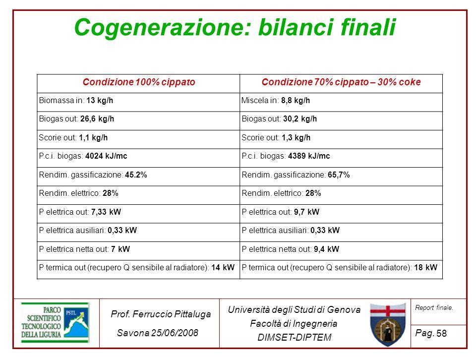 Cogenerazione: bilanci finali Condizione 70% cippato – 30% coke