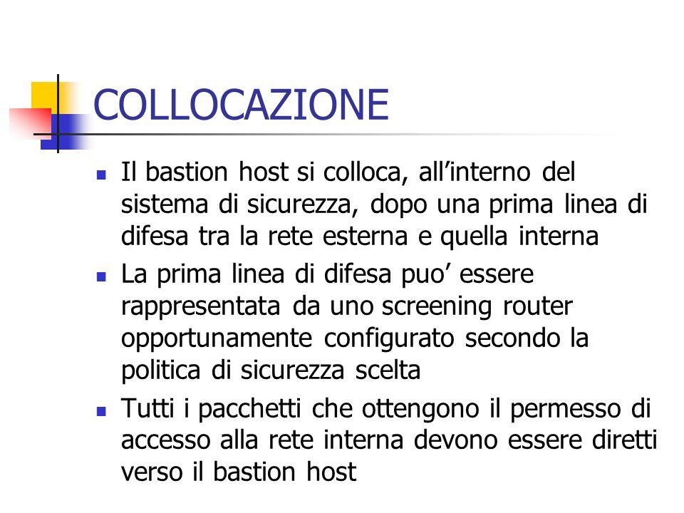 COLLOCAZIONE Il bastion host si colloca, all'interno del sistema di sicurezza, dopo una prima linea di difesa tra la rete esterna e quella interna.