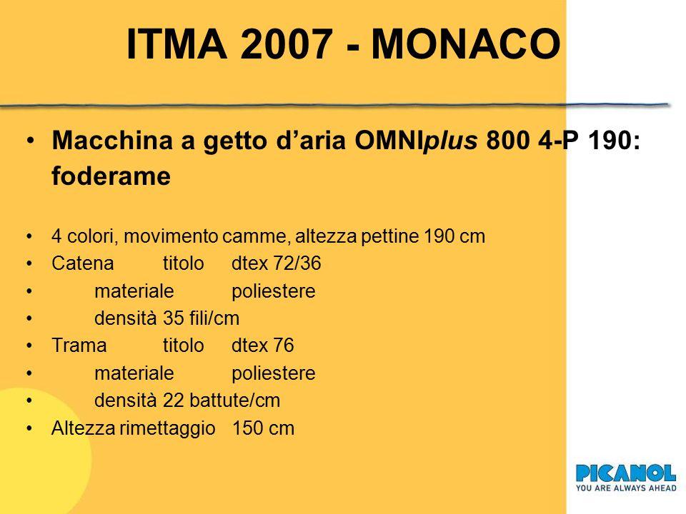 ITMA 2007 - MONACO Macchina a getto d'aria OMNIplus 800 4-P 190: foderame. 4 colori, movimento camme, altezza pettine 190 cm.