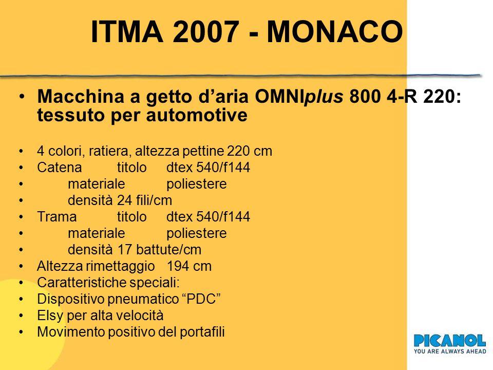 ITMA 2007 - MONACO Macchina a getto d'aria OMNIplus 800 4-R 220: tessuto per automotive. 4 colori, ratiera, altezza pettine 220 cm.