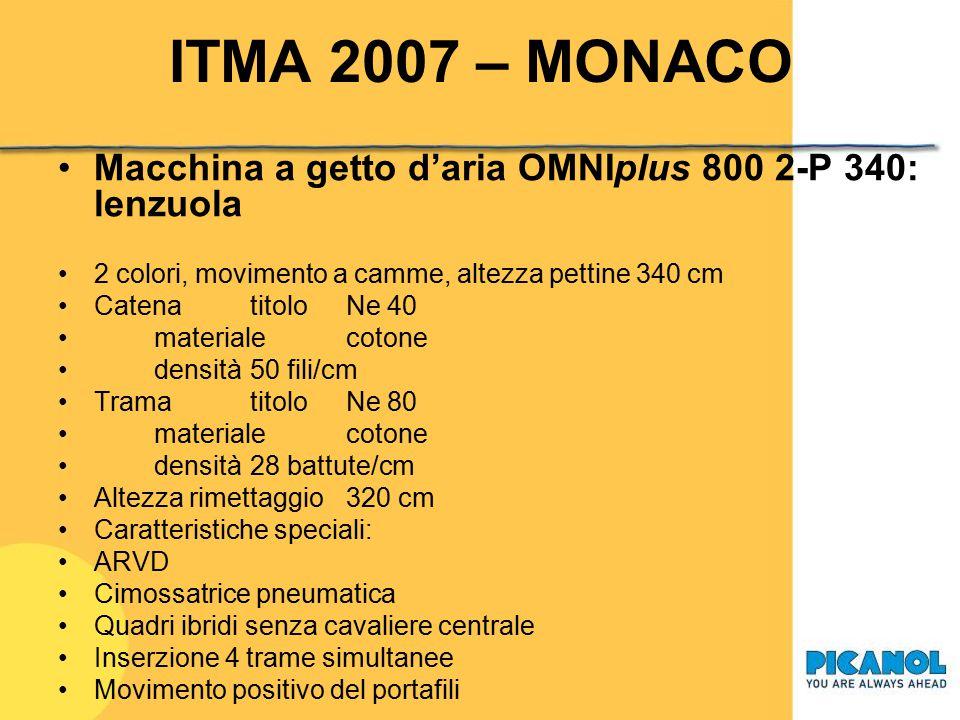 ITMA 2007 – MONACO Macchina a getto d'aria OMNIplus 800 2-P 340: lenzuola. 2 colori, movimento a camme, altezza pettine 340 cm.