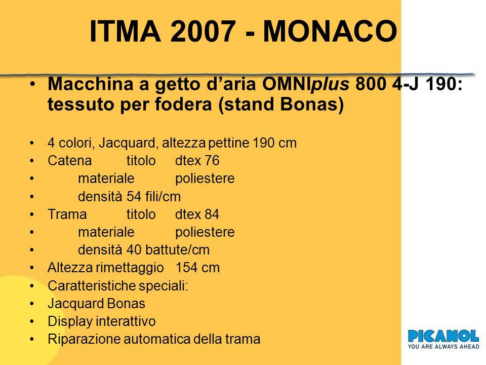 ITMA 2007 - MONACO Macchina a getto d'aria OMNIplus 800 4-J 190: tessuto per fodera (stand Bonas) 4 colori, Jacquard, altezza pettine 190 cm.