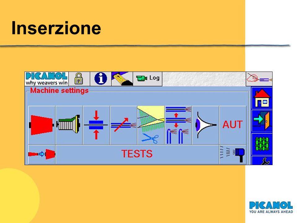 Inserzione Ancora un'immagine del display interattivo, dove si evidenzia la pagina per la regolazione dell'inserzione.