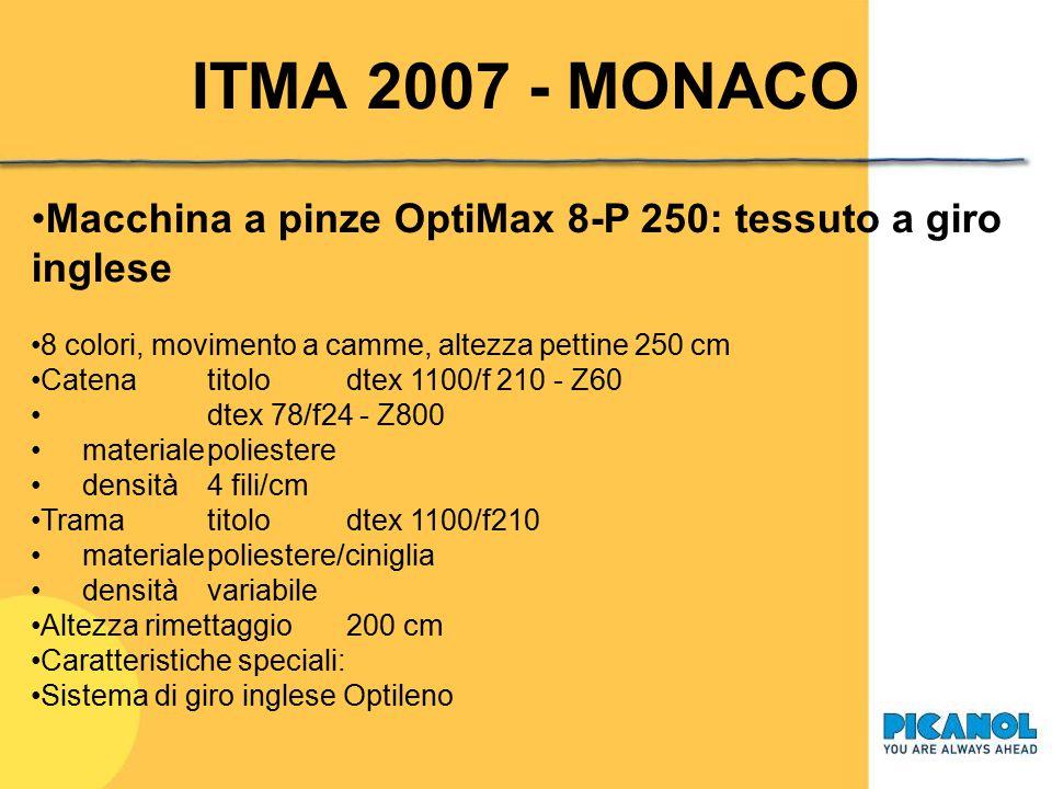 ITMA 2007 - MONACO Macchina a pinze OptiMax 8-P 250: tessuto a giro inglese. 8 colori, movimento a camme, altezza pettine 250 cm.