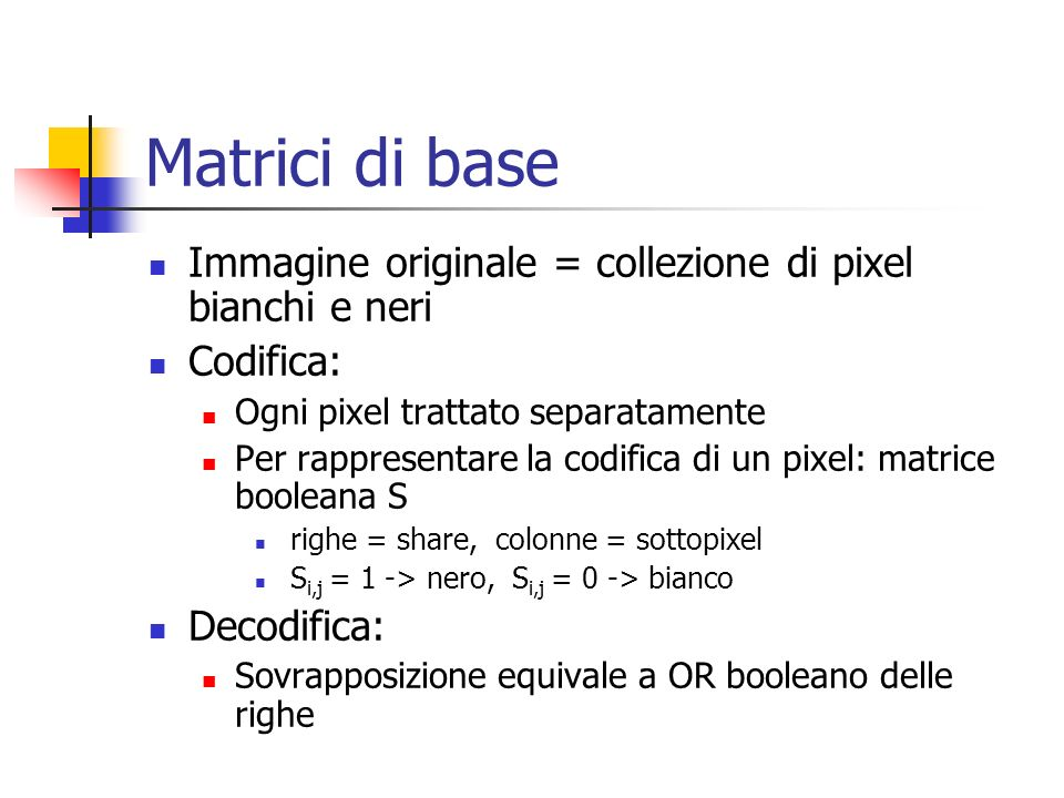 Matrici di base Immagine originale = collezione di pixel bianchi e neri. Codifica: Ogni pixel trattato separatamente.