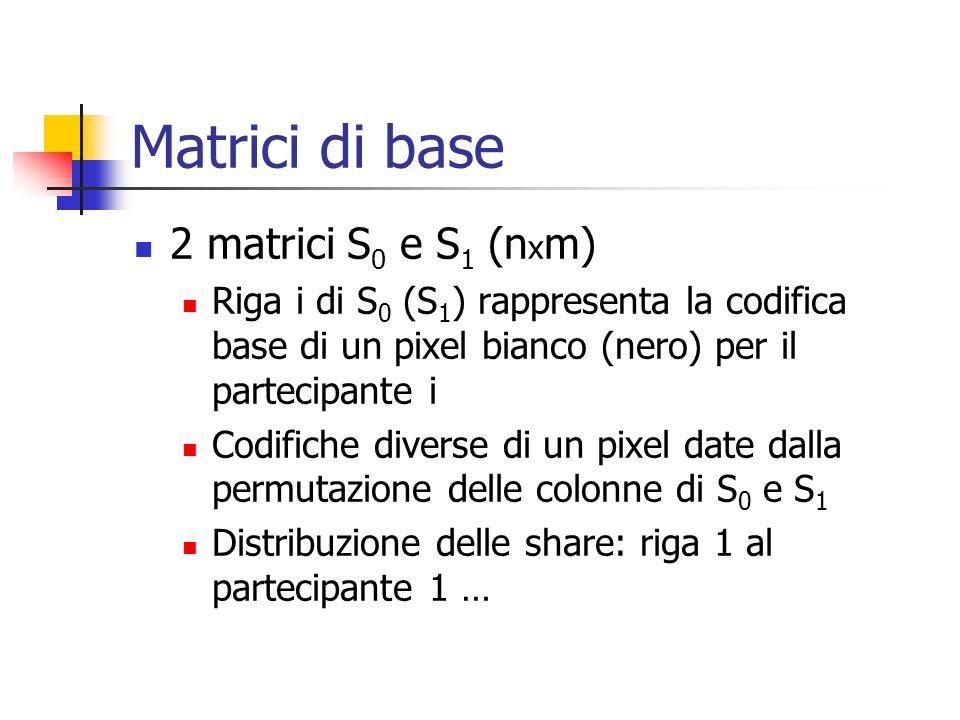 Matrici di base 2 matrici S0 e S1 (nxm)