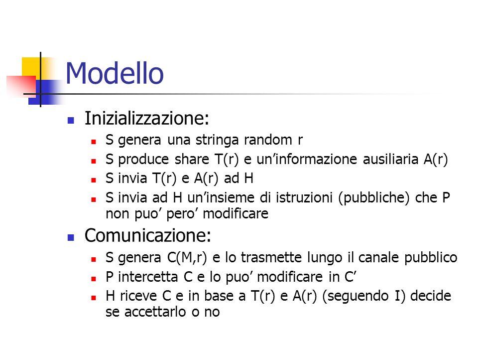 Modello Inizializzazione: Comunicazione: S genera una stringa random r