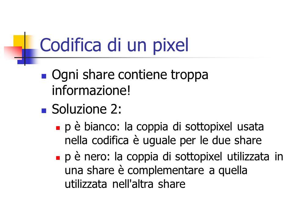 Codifica di un pixel Ogni share contiene troppa informazione!